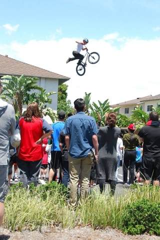 bmx rider jumping in the air